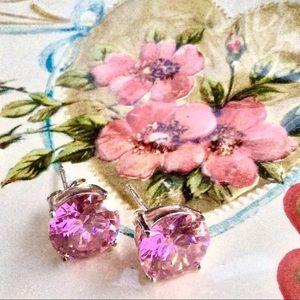 Valentine's💗Pink Austrian Crystal Silver Earrings